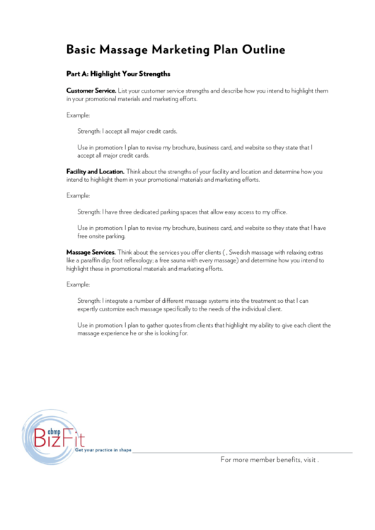 basic massage marketing plan outline template printable pdf download