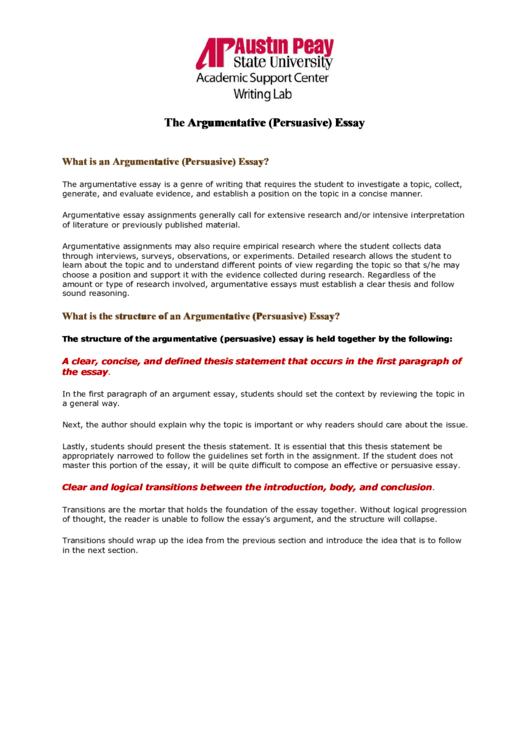 The Argumentative (persuasive) Essay