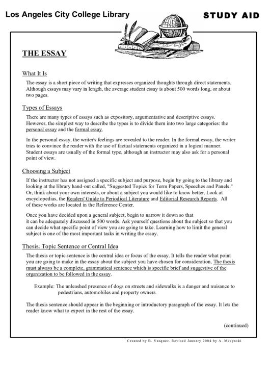 The Essay - Study Aid