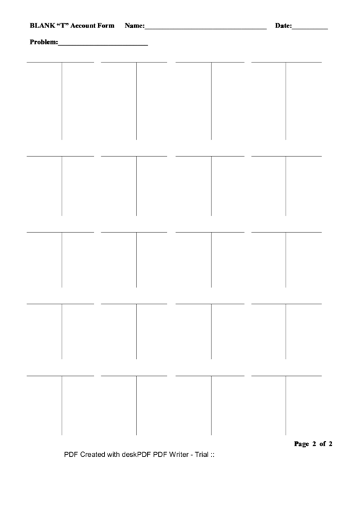 Blank T Account Form Printable pdf