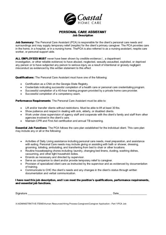 Personal Care Assistant Job Description Printable Pdf Download