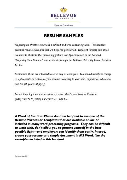 Resume Samples Printable pdf