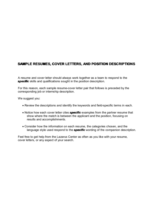 Sample Resumes, Cover Letters, And Position Descriptions Template Printable pdf