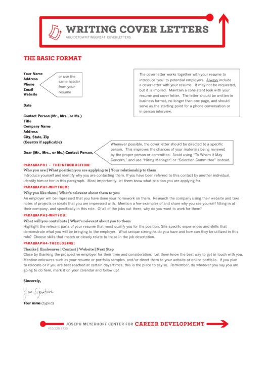 The Basic Format Of A Cover Letter Printable pdf