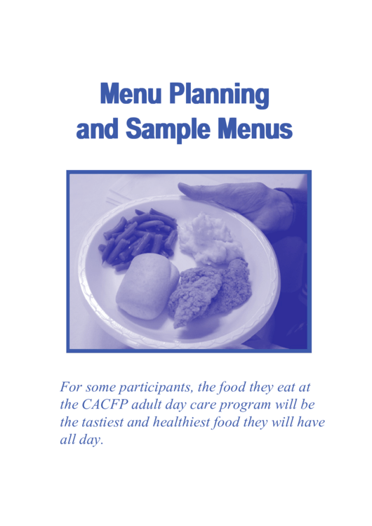 Menu Planning And Sample Menu Templates Printable pdf