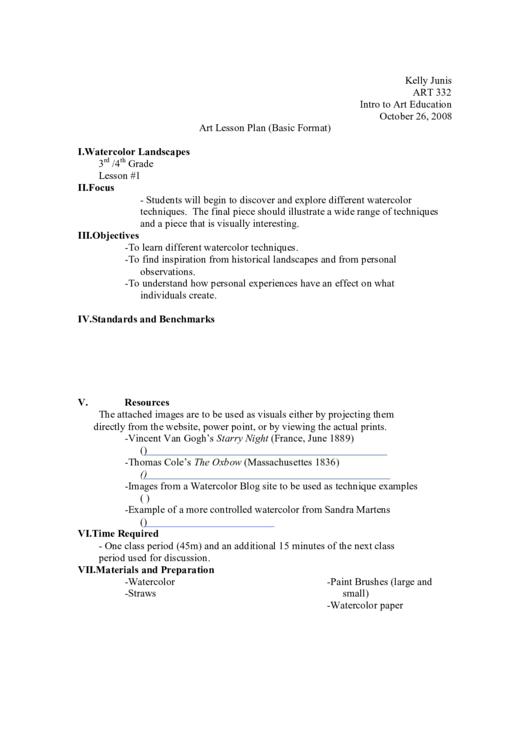 Art Lesson Plan Template (basic Format)