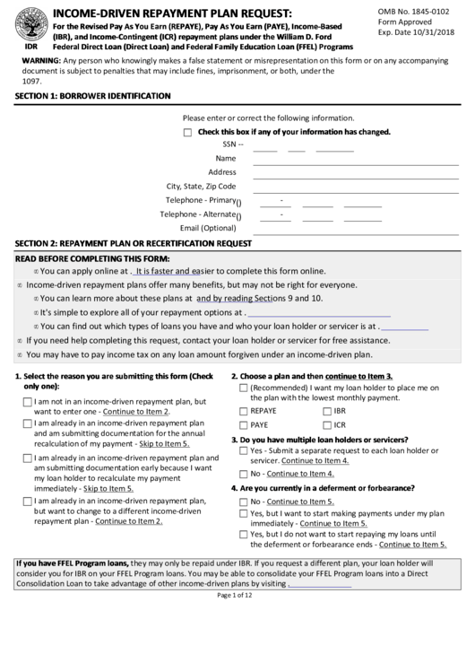Income-driven Repayment Plan Request printable pdf download