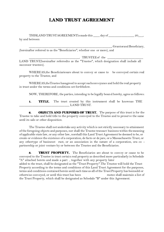 Land Trust Agreement Template Printable Pdf Download