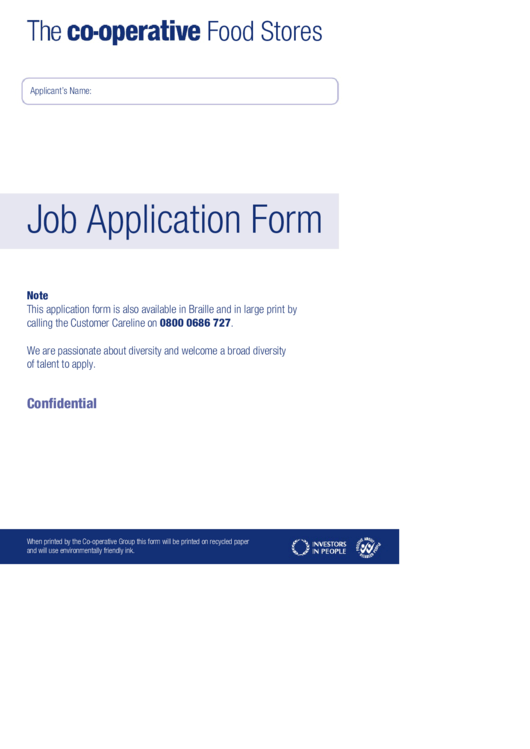 Job Application Form Printable pdf