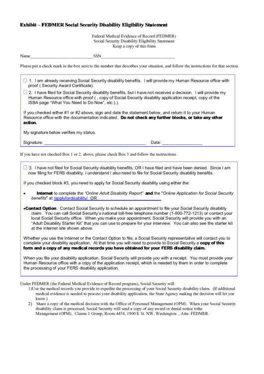 Social Security Disability Eligibility Statement Form