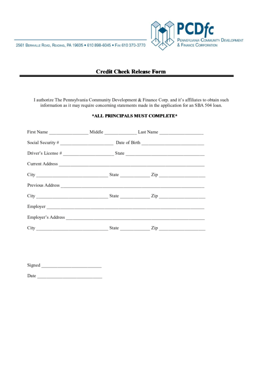 Fillable Credit Check Release Form Printable pdf