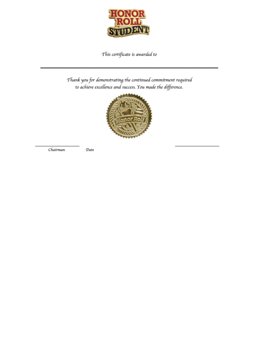 Fillable Honor Roll Certificate Template Printable pdf