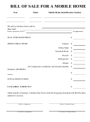 Bill Of Sale Template For A Mobile Home