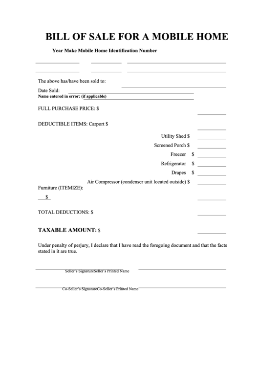 fillable bill of sale template for a mobile home printable