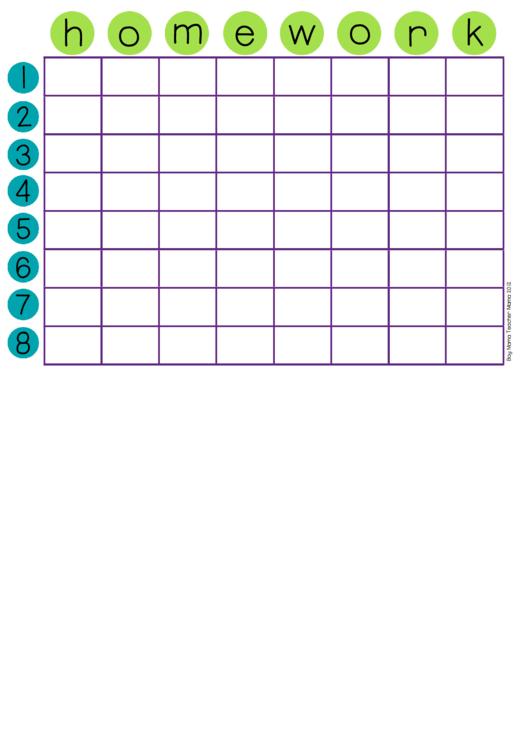 Homework & Chore Chart Template