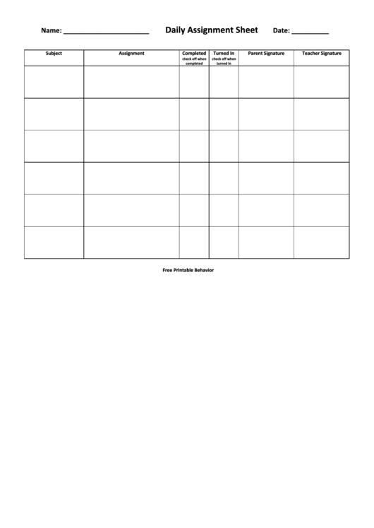 Daily Assignment Sheet