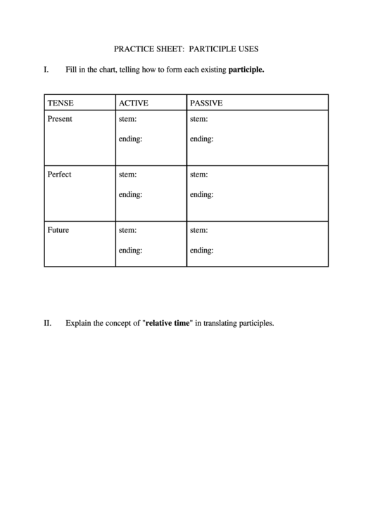 Practice Sheet: Participle Uses Printable pdf
