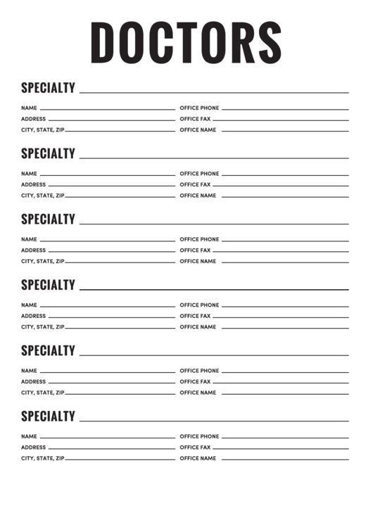 Doctors Contact List Template Printable Pdf Download