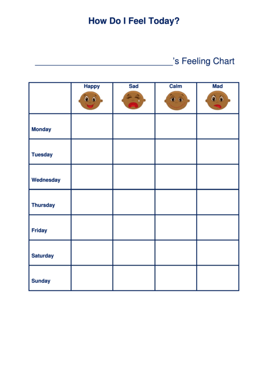 How Do I Feel Today Feeling Chart Printable Pdf Download