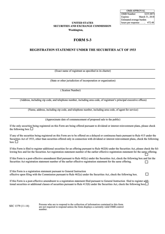 Form S-3 - Registration Statement Under The Securities Act Of 1933 ...