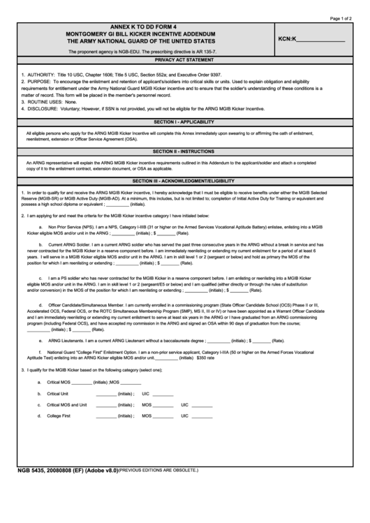 Ngb 5435 - Annex K To Dd Form 4 - Montgomery Gi Bill Kicker Incentive Addendum The Army National Guard Of The United States Printable pdf