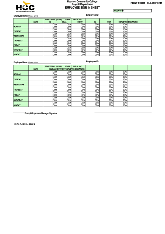 Fillable Employee Sign In Sheet - Houston Community College Payroll Department Printable pdf