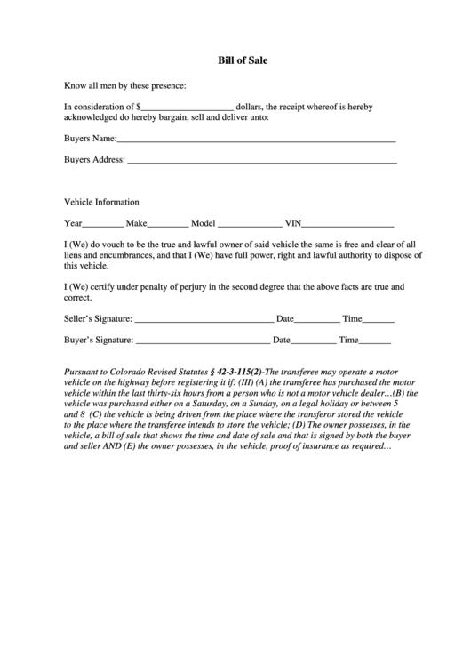 Colorado bill of sale form printable pdf download for Colorado motor vehicle bill of sale