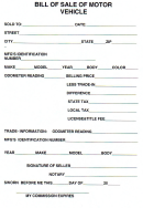Bill Of Sale Of Motor Vehicle