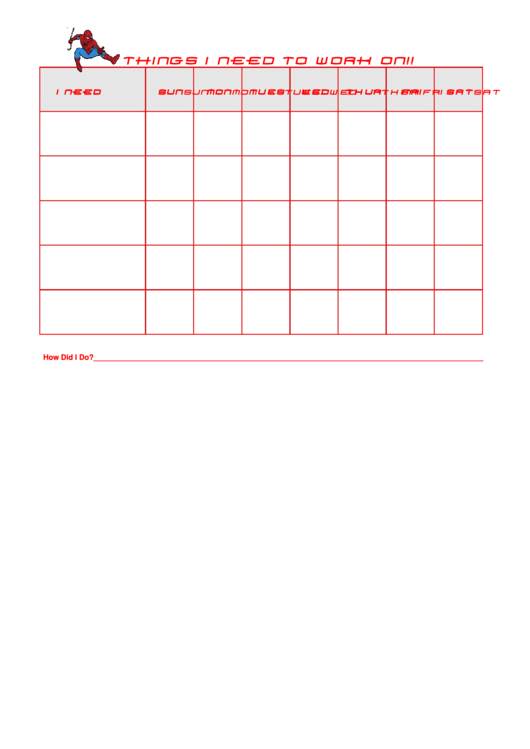 Behavior Chart Spiderman Printable pdf