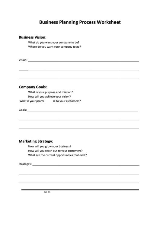 Business Planning Process Worksheet