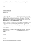 Sample Letter To Parents Template - Children Exposed To Shigellosis