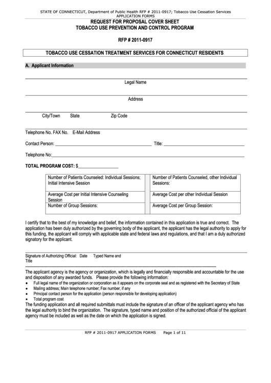 2011 Request For Proposal Cover Sheet Template Printable pdf