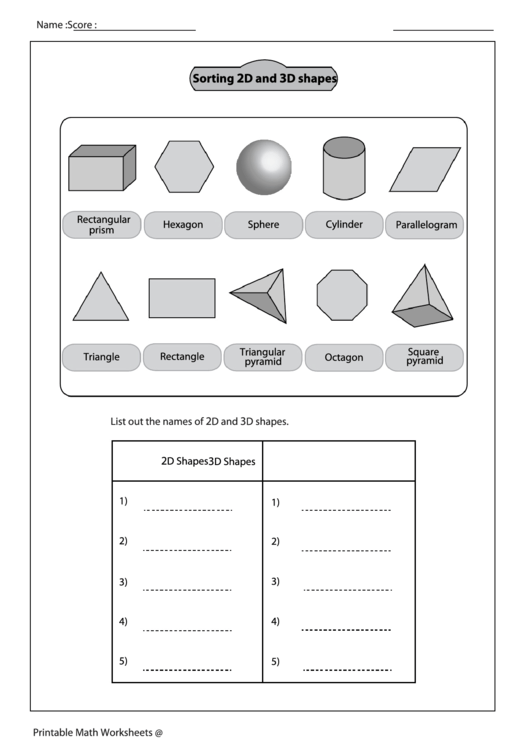 Sorting 2d And 3d Shapes Worksheet With Answer Key Printable Pdf. Sorting 2d And 3d Shapes Worksheet With Answer Key. Worksheet. 2d And 3d Shapes Worksheets At Clickcart.co