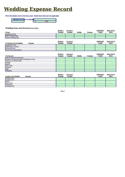 Wedding Expense Record