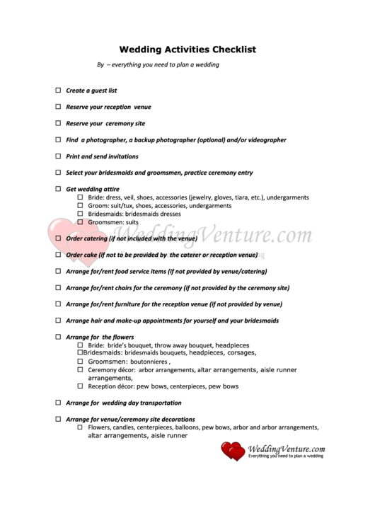 Wedding Activities Checklist printable pdf download
