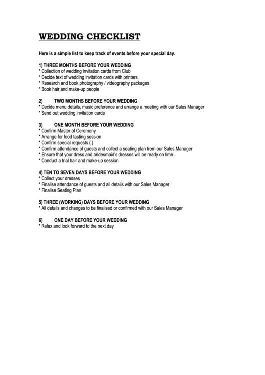Wedding Checklist Three Month printable pdf download