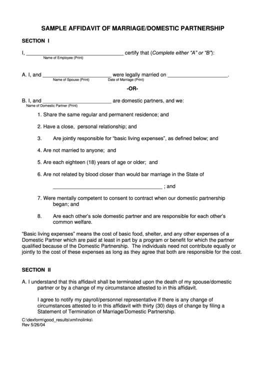 sample affidavit of marriage domestic partnership