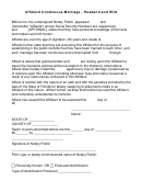 Affidavit Of Continuous Marriage Form