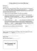 Florida Affidavit Of Continuous Marriage