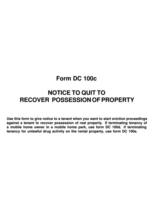 Form Dc 100c Notice To Quit To Recover Possession Of Property
