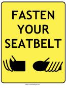Fasten Seatbelt Sign Template