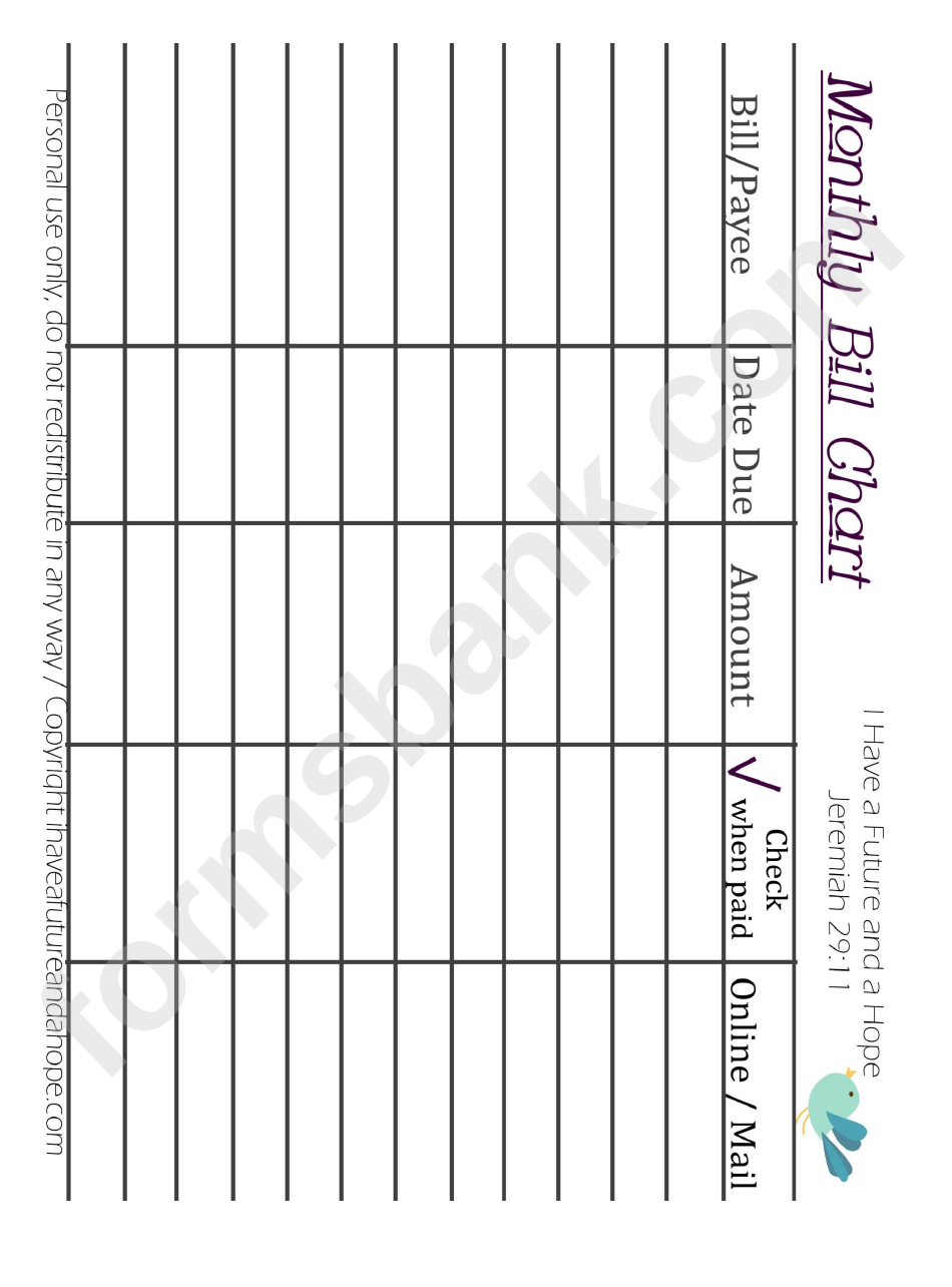 monthly bill chart printable pdf download