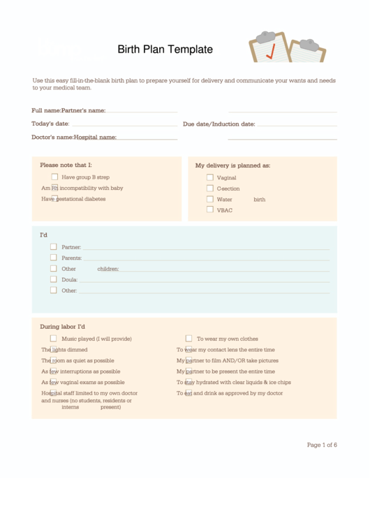 birth plan template printable pdf 1