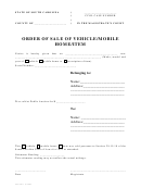 Order Of Sale Of Vehicle Mobile Home Item