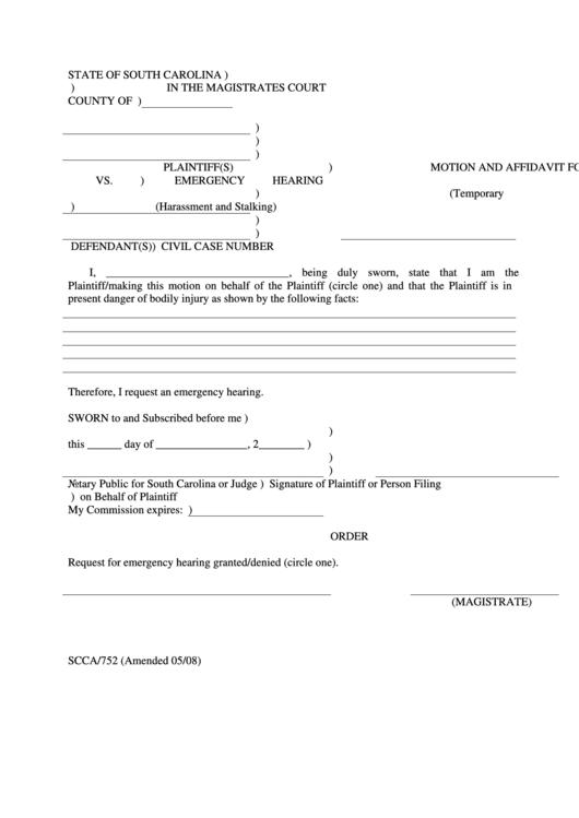 motion and affidavit for emergency hearing printable pdf download