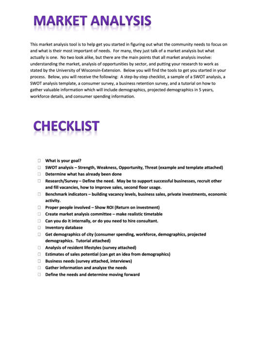 Market Analysis Worksheet Template Printable pdf