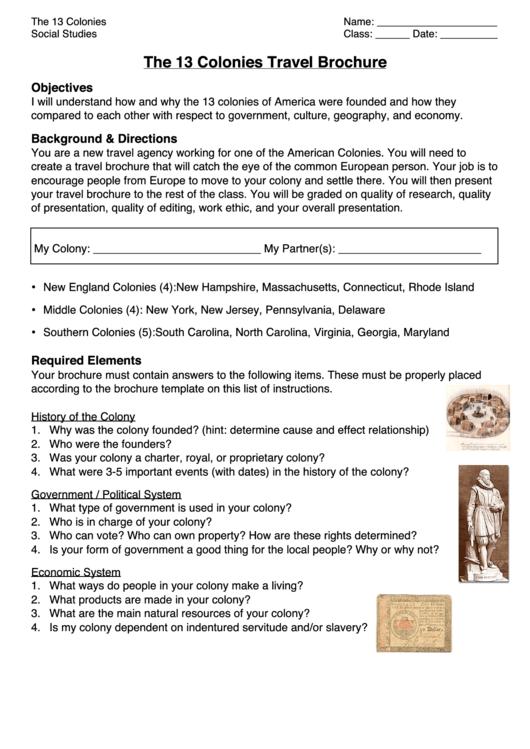 13 colonies travel brochure worksheet printable pdf download