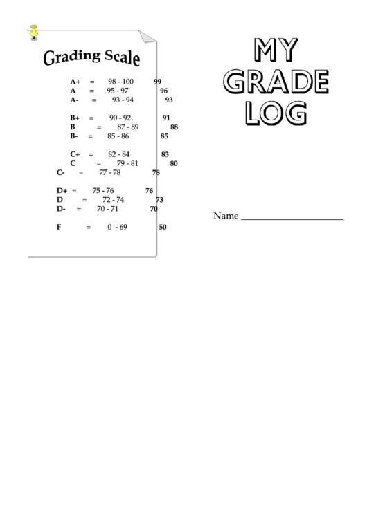 Grade Log Template Printable pdf