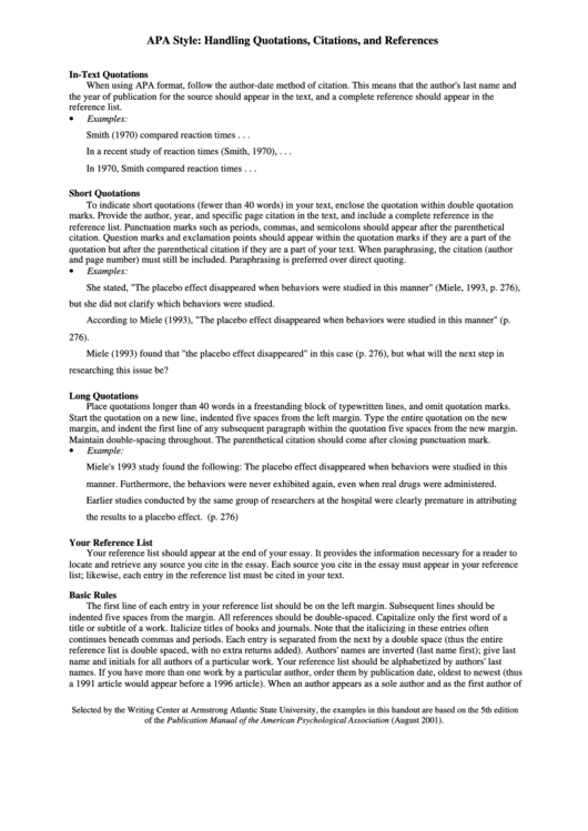 Apa Style - Handling Quotations Citations And References Printable pdf