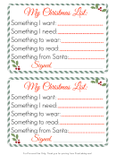 Personal Christmas List Template